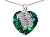 Star K™ Large 15mm Heart Shaped Simulated Emerald Solul Mate Pendant Necklace style: 302602
