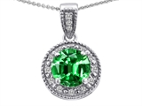 Tommaso Design™ Genuine Diamonds and Round Simulated Emerald Pendant