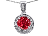 Tommaso Design Genuine Diamonds and Round Created Ruby Pendant