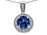 Tommaso Design™  Round Created Sapphire and Diamonds Pendant style: 302610