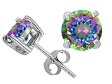 Original Star K™ Round 7mm Rainbow Mystic Topaz Earrings Studs style: 302614