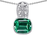 Original Star K Large 11x13 Cushion Cut Simulated Emerald Bali Style Pendant