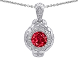 Original Star K 8mm Created Ruby Bali Style Pendant