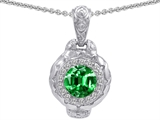 Original Star K™ 8mm Simulated Emerald Bali Style Pendant