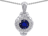 Original Star K 8mm Round Created Sapphire Bali Style Pendant
