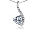 Tommaso Design Heart Shape 6mm Genuine White Topaz and Diamond Pendant