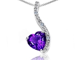 Tommaso Design Heart Shape 6mm Genuine Amethyst and Diamond Pendant