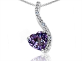 Tommaso Design Heart Shape 6mm Simulated Alexandrite and Diamond Pendant
