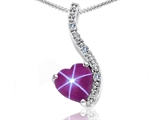Tommaso Design™ Heart Shape 6mm Created Star Ruby and Diamond Pendant style: 302644