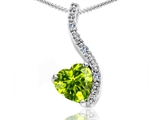 Tommaso Design Heart Shape 6mm Genuine Peridot and Diamond Pendant