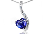 Tommaso Design Heart Shape 6mm Created Sapphire and Diamond Pendant