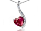 Tommaso Design™ Heart Shape 6mm Created Ruby and Diamond Pendant