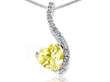 Tommaso Design™ Heart Shape 6mm Genuine Lemon Quartz and Diamond Pendant style: 302649