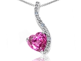 Tommaso Design Heart Shape 6mm Created Pink Sapphire and Diamond Pendant
