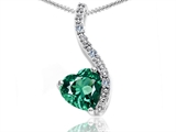 Tommaso Design Heart Shape 6mm Simulated Emerald And Diamond Pendant