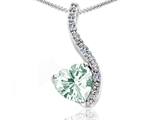 Tommaso Design Heart Shape 6mm Genuine Green Amethyst and Diamond Pendant