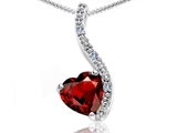 Tommaso Design Heart Shape 6mm Genuine Garnet and Diamond Pendant