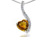 Tommaso Design™ Heart Shape 6mm Genuine Citrine and Diamond Pendant