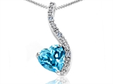 Tommaso Design™ Heart Shape 6mm Genuine Blue Topaz and Diamond Pendant