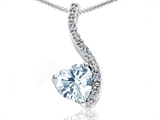 Tommaso Design Heart Shape 6mm Genuine Aquamarine and Diamond Pendant