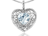Tommaso Design™ Heart Shape 8mm Genuine Aquamarine and Diamond Pendant