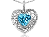 Tommaso Design Heart Shape 8mm Genuine Blue Topaz and Diamond Pendant