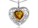 Tommaso Design Heart Shape 8mm Genuine Citrine and Diamond Pendant