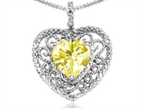 Tommaso Design Heart Shape 8mm Genuine Lemon Quartz and Diamond Pendant