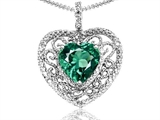 Tommaso Design Heart Shape 8mm Simulated Emerald and Diamond Pendant