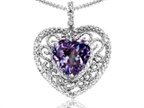 Tommaso Design Simulated Heart Shape Alexandrite and Diamond Pendant