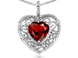 Tommaso Design™ Heart Shape 8mm Genuine Garnet and Diamond Pendant