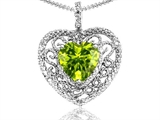 Tommaso Design Heart Shape 8mm Genuine Peridot and Diamond Pendant