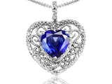 Tommaso Design Heart Shape 8mm Created Sapphire and Diamond Pendant