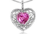 Tommaso Design Heart Shape 8mm Created Pink Sapphire and Diamond Pendant
