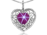 Tommaso Design™ Heart Shape 8mm Created Star Ruby and Diamond Pendant