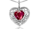 Tommaso Design Heart Shape 8mm Created Ruby and Diamond Pendant