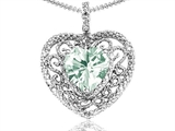 Tommaso Design Heart Shape 8mm Genuine Green Amethyst and Diamond Pendant