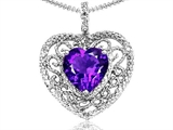 Tommaso Design Heart Shape 8mm Genuine Amethyst and Diamond Pendant