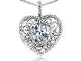 Tommaso Design™ Heart Shape 8mm Genuine White Topaz and Diamond Pendant