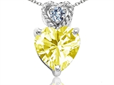 Tommaso Design 6mm Heart Shape Genuine Lemon Quartz and Diamond Pendant