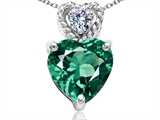 Tommaso Design 6mm Heart Shape Simulated Emerald and Diamond Pendant