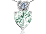 Tommaso Design 6mm Heart Shape Genuine Green Amethyst and Diamond Pendant
