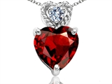 Tommaso Design™ 6mm Heart Shape Genuine Garnet and Diamond Pendant