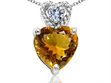Tommaso Design 6mm Heart Shape Genuine Citrine and Diamond Pendant