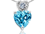 Tommaso Design 6mm Heart Shape Genuine Blue Topaz and Diamond Pendant