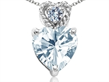 Tommaso Design™ 6mm Heart Shape Genuine Aquamarine and Diamond Pendant