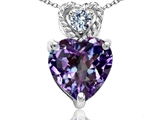 Tommaso Design 6mm Heart Shape Simulated Alexandrite and Diamond Pendant