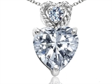 Tommaso Design™ 6mm Heart Shape Genuine White Topaz and Diamond Pendant