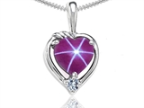 Tommaso Design™ Heart Shape Created Star Ruby and Diamond Pendant