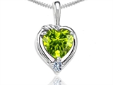 Tommaso Design Heart Shape Genuine Peridot and Diamond Pendant